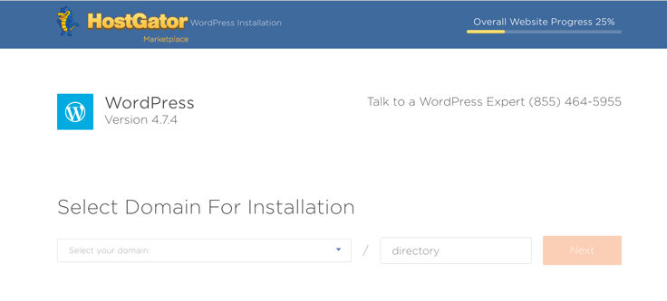 Select your domain for installation.