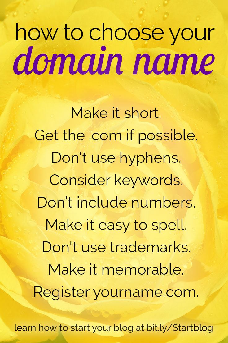 Use these tips when deciding on a great domain name for your new blog.
