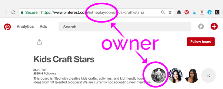 The Pinterest group board owner is listed in the URL, and is the first picture shown.