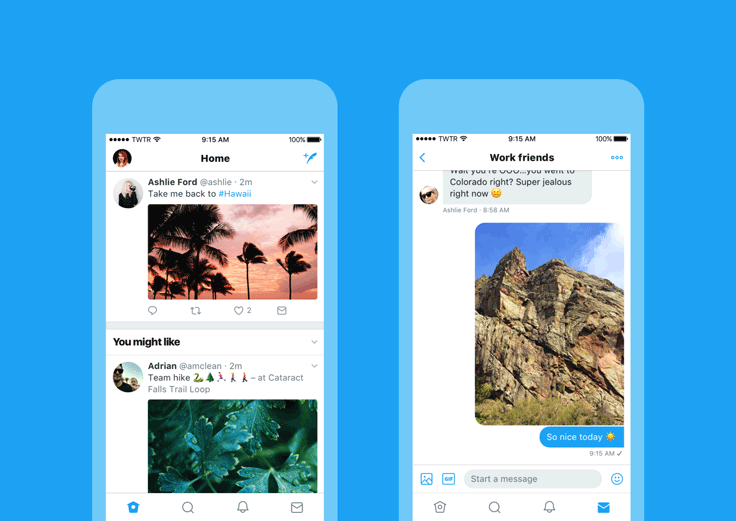Twitter's new look on iOS: timeline and DMs.