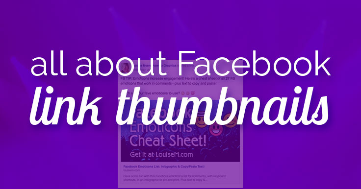 Want a large Facebook Link Thumbnail? You need a BIG blog post image. Learn the minimum and optimal image sizes so you don't get a teensy link thumbnail.