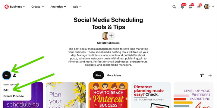 how to edit pinterest board from board itself