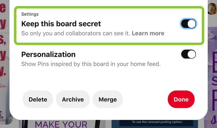 how to make Pinterest boards private screenshot