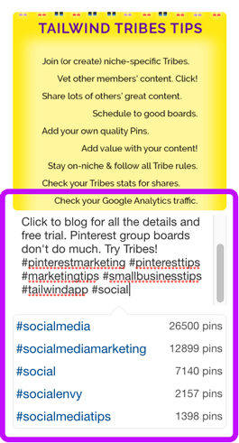 Suggested hashtags pop up in the Pin description when I Save a new Pin. I do not see this when editing a Pin description.