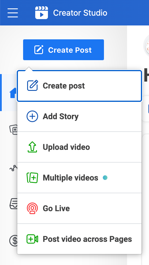 create post options in creator studio screenshot