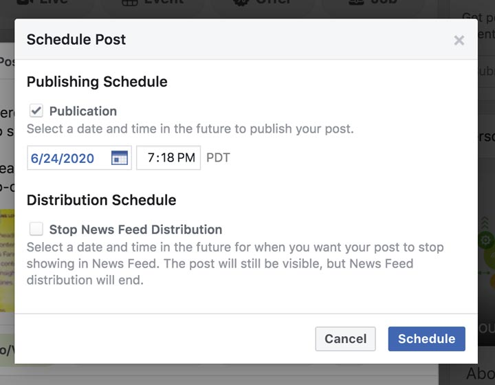 set date and time for facebook post screenshot