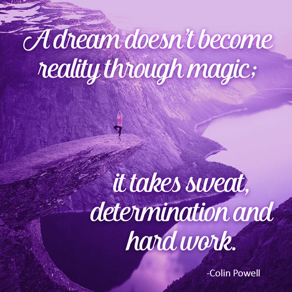 Success quote: A dream doesn't become reality through magic; it takes sweat, determination, and hard work.