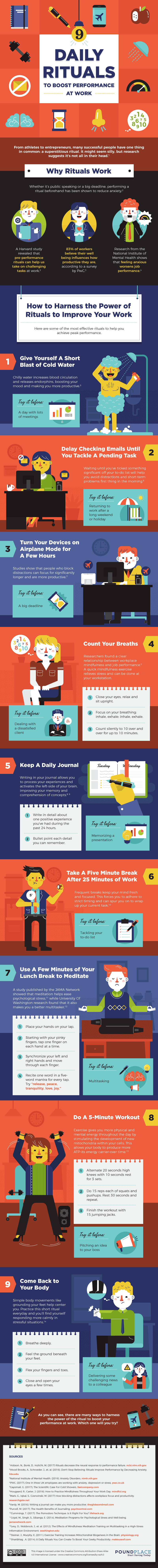 Do you use daily rituals? Incorporating these habits helps you face the day's challenges. Try a few of the 9 daily rituals on this infographic!