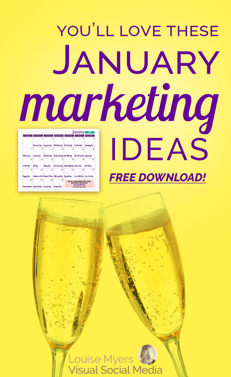 Need January marketing ideas? Download a FREE content inspiration calendar and start the year right! Don't miss this opportunity to market your business.