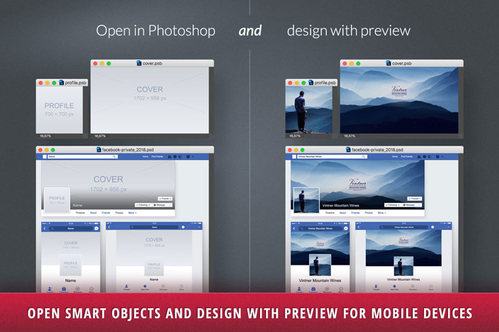 Make your Facebook Profile Cover Photo size look good on both desktop and mobile with this FREE Photoshop template! Displays right on all devices in 2018.