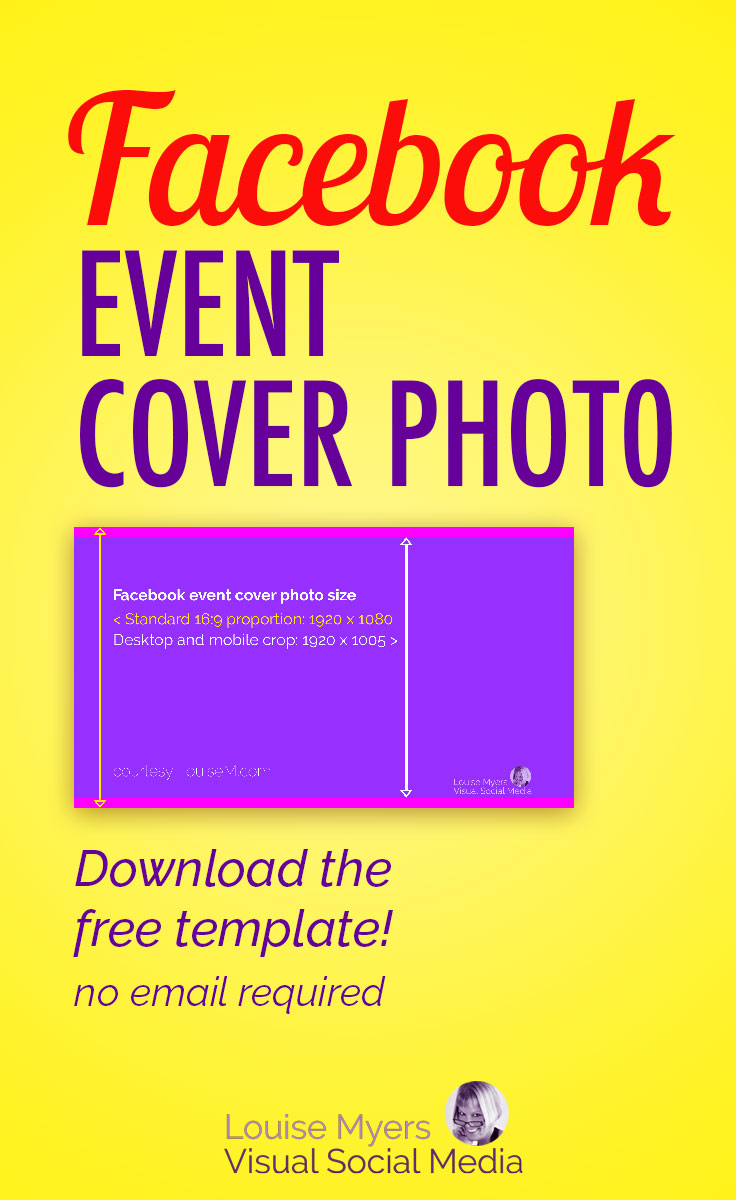 What's the correct Facebook event image size? It differs from the Fan Page and the personal profile. Learn how to make yours look great on mobile AND desktop!