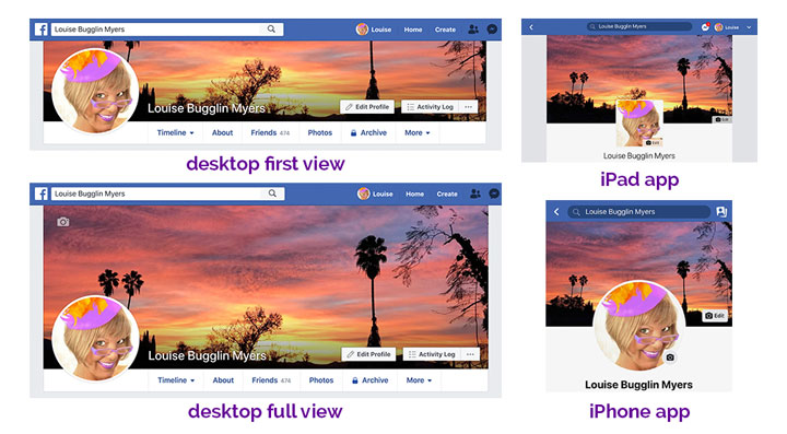 2019 Facebook profile cover photo displays