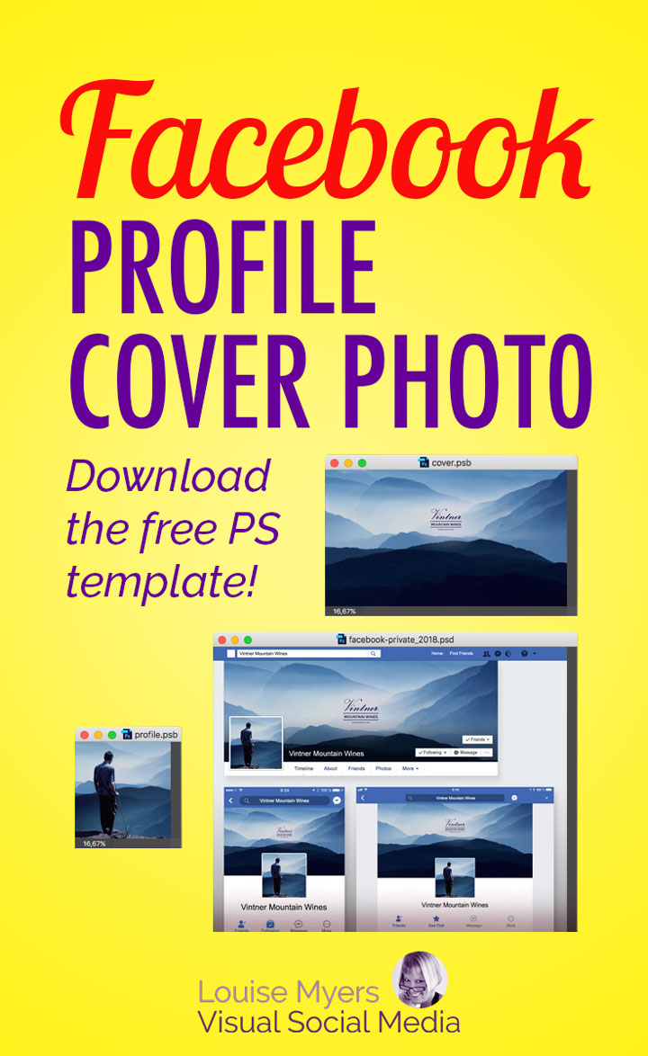 Make your Facebook Profile Cover Photo size look good on both desktop and mobile with this FREE Photoshop template! Display right on all devices in 2018.