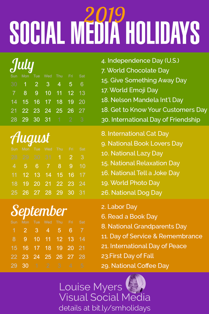 Calendar Days January 2017 To June 30 2019 84 Social Media Holidays You Need in 2019: Indispensable!