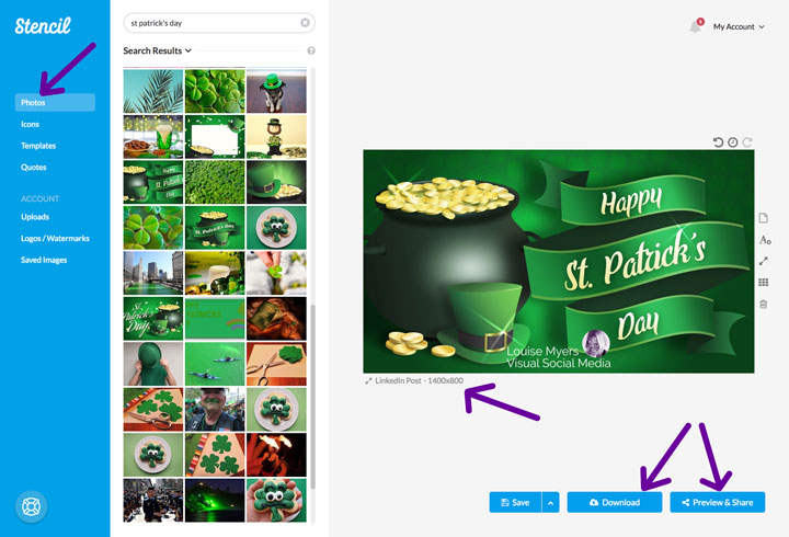 Screenshot of super easy method for making St Patrick Day images with Stencil.
