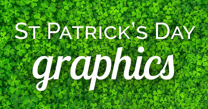 St Patrick's Day graphics text on clover background