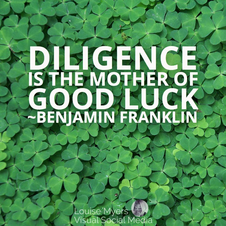 St. Patrick's Day graphic with text: Diligence is the mother of good luck.