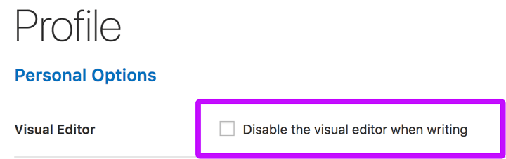 disable the wordpress visual editor