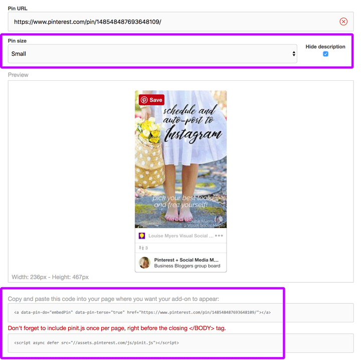 Embedding a Pinterest pin without description.
