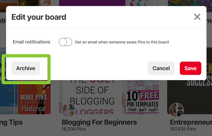 archive button on Pinterest board