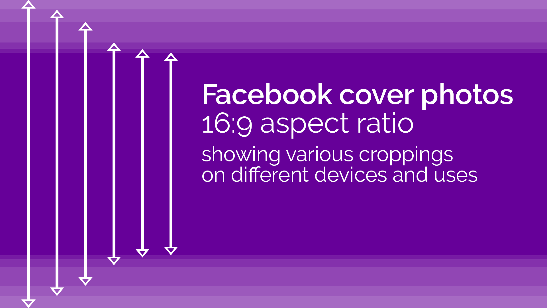 Facebook cover photos in 16:9 aspect ratio showing various croppings on different devices and uses.