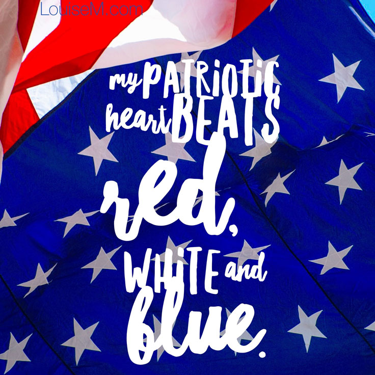 patriotic heart beats red white blue quote image