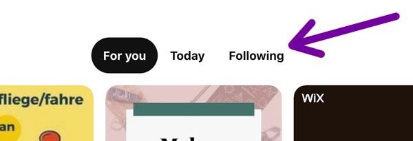 switch to pinterest following feed. screenshot