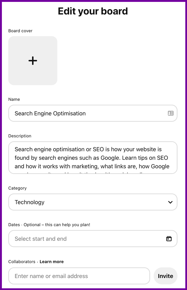 pinterest board setting options screenshot