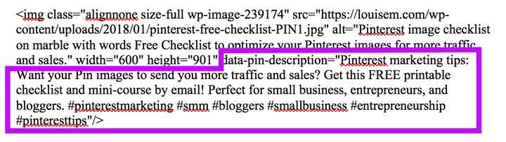 Pinterest pin description code screenshot