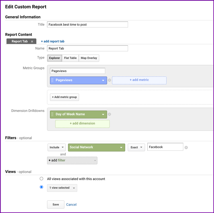 create google analytics custom report screenshot