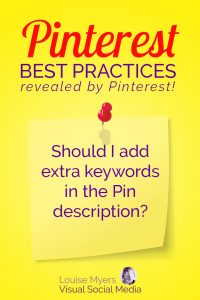 Pinterest marketing tip: Is it helpful to add a blast of keywords in the Pin description?