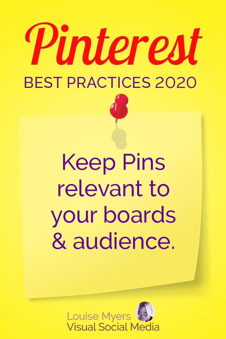 Pinterest prefers relevant Pins