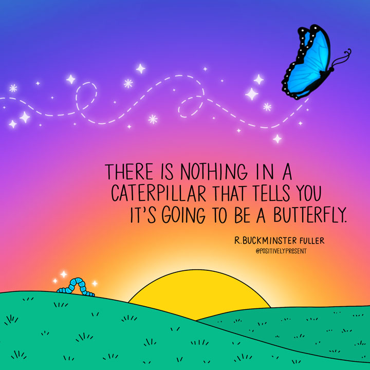 Positively Present Butterfly doodle art