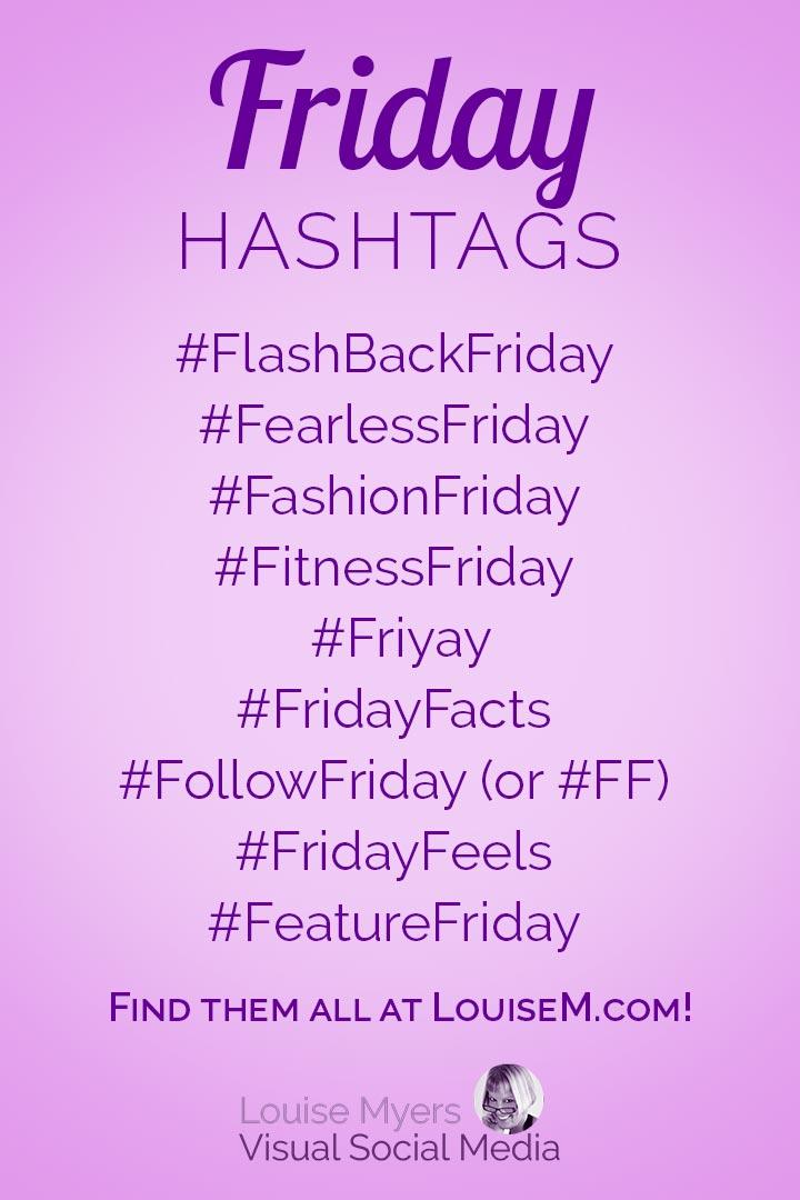 Friday hashtags cheat sheet