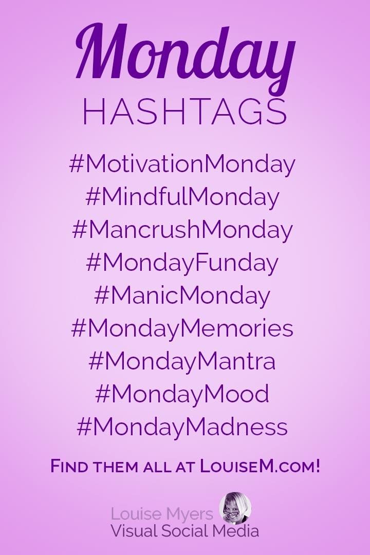 Monday hashtags cheat sheet