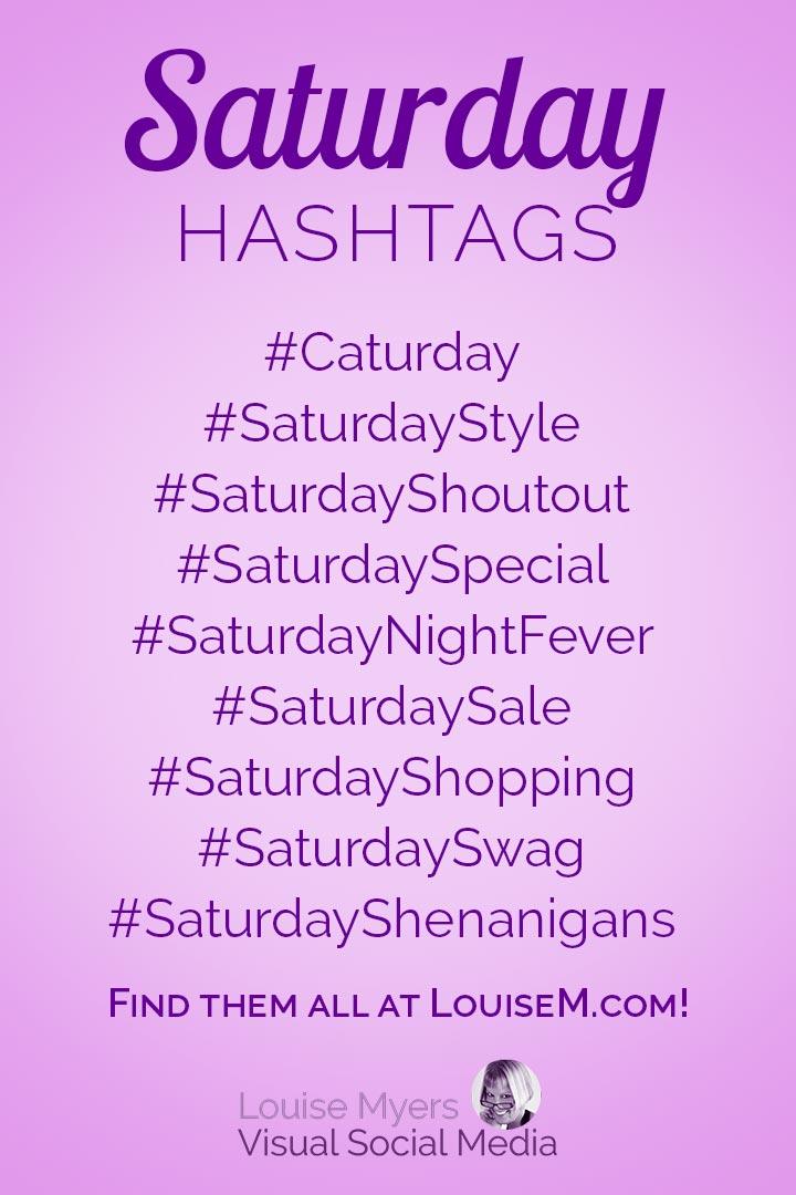 Saturday hashtags cheat sheet