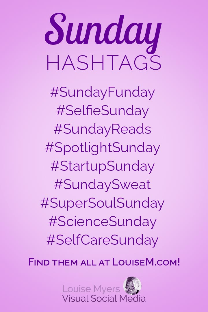 Sunday hashtags cheat sheet