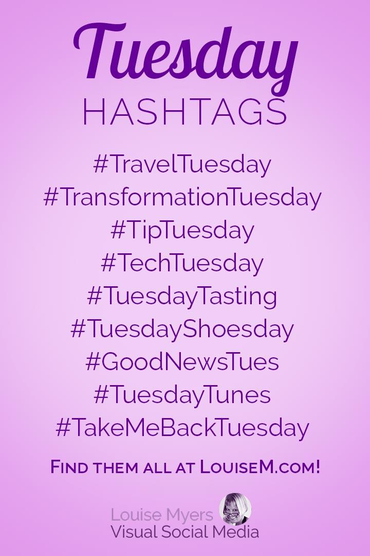 Tuesday hashtags cheat sheet