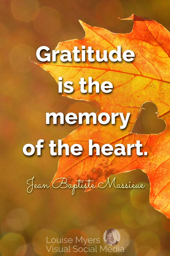 gratitude quote image: gratitude is the memory of the heart