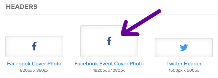 choose the Facebook Event cover photo preset