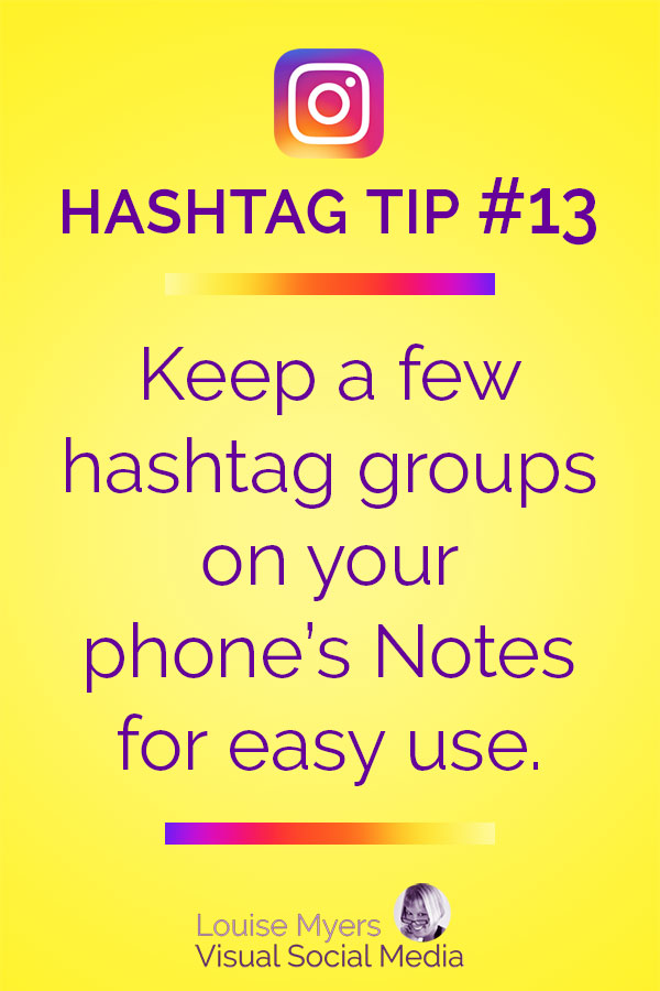 Keep Instagram hashtag groups on your phone notes