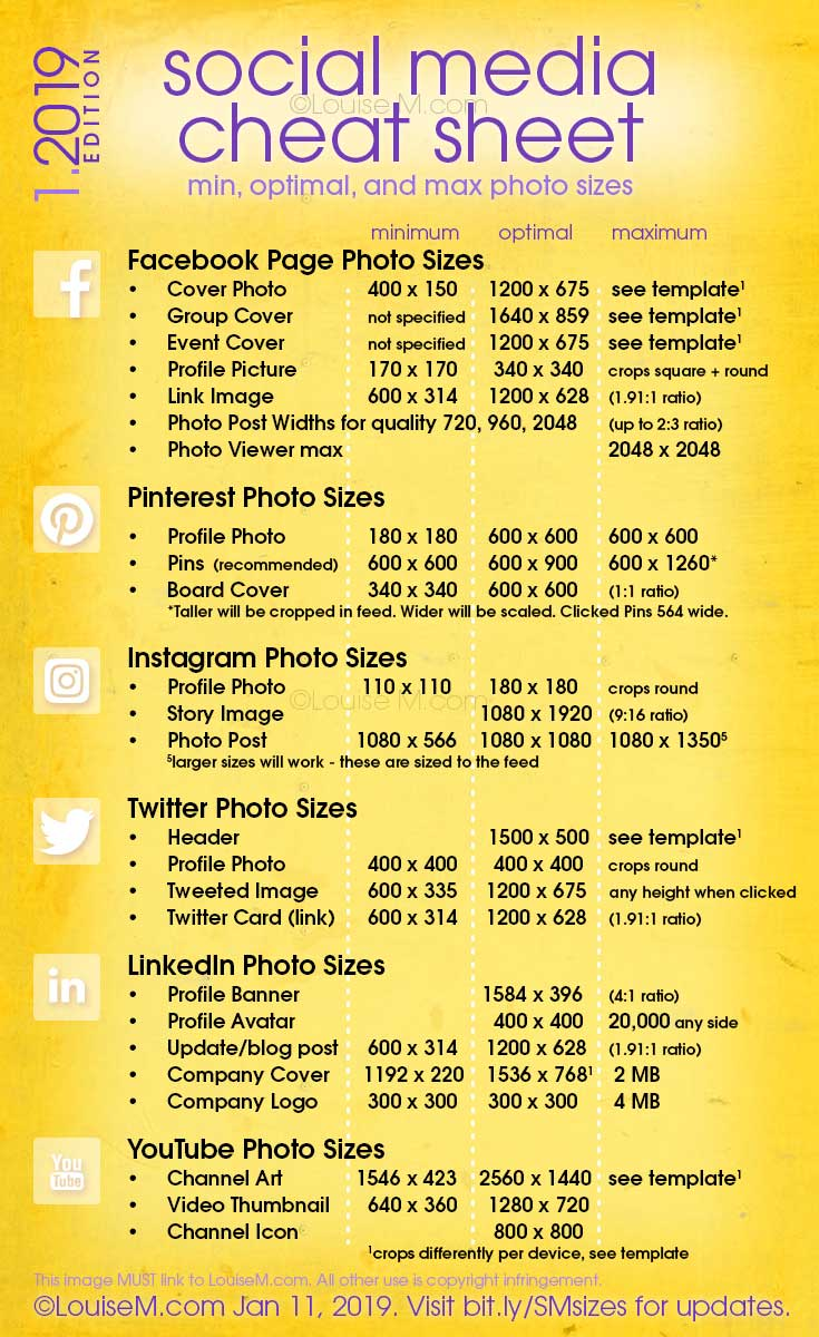 Updated! Social Media cheat sheet with image sizes for Facebook, Pinterest, Instagram, Twitter, LinkedIn, YouTube. Click to blog for your free printable! And more social media marketing tips for your small business.