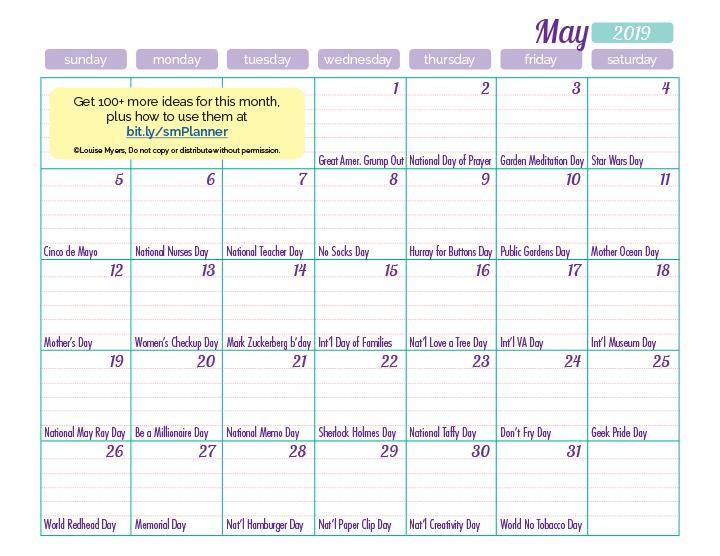 May content inspiration calendar