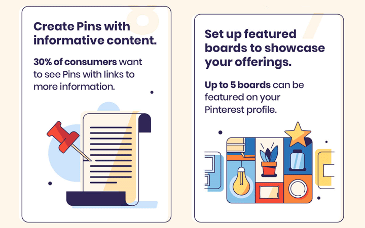Pinterest business account pins and showcase tips