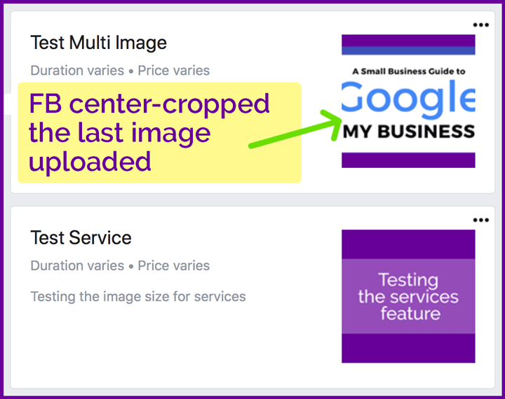 Facebook Page services image display size