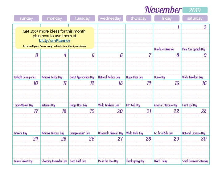 November 2019 marketing calendar