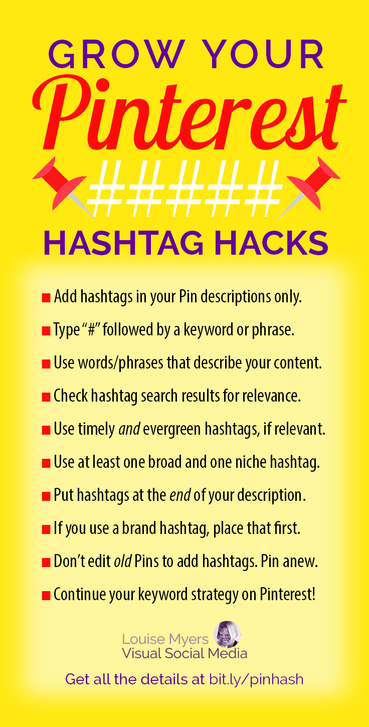 pinterest hashtag hacks infographic