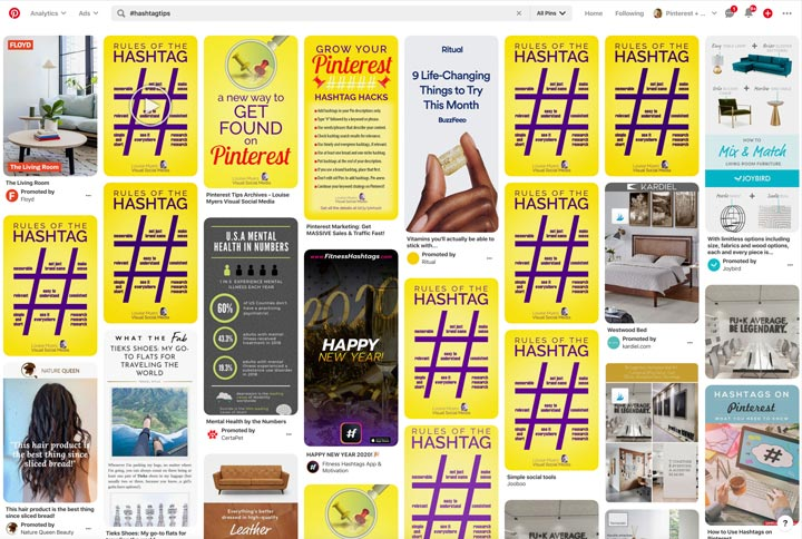 hashtag search for stolen Pinterest Pins
