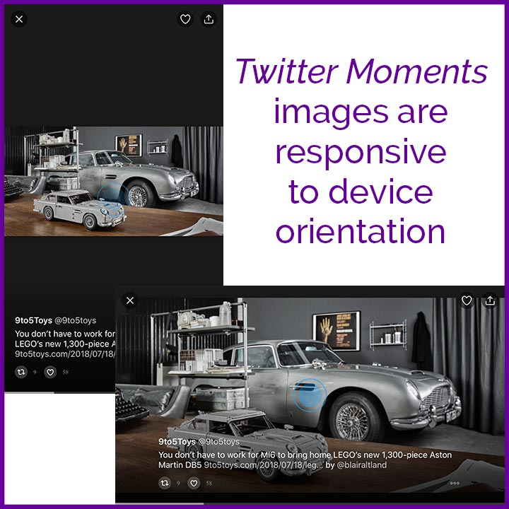 Twitter Moments images are responsive to device orientation