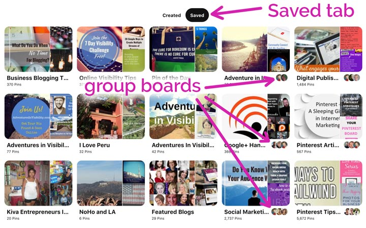 screenshot showing which are group boards on Pinterest profile.